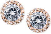 Lauren Ralph Lauren Rose Gold-Tone Crystal Halo Stud Earrings
