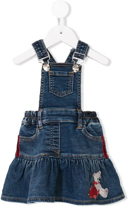 MonnaLisa Embroidered Denim Dungaree Dress