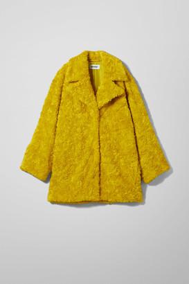 Weekday Aliana Faux Fur Jacket - Yellow