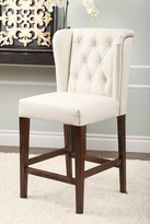 Zara Ivory Tufted Leather Counter Stool