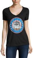 Fifth Sun Short Sleeve V Neck T-Shirt-Womens Juniors