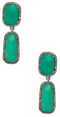 Adornia Fine Silver Chrysoprase Drop Earrings