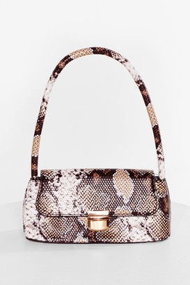 Nasty Gal Womens Snaking the Move Faux Leather Shoulder Bag - Beige - ONE SIZE, Beige