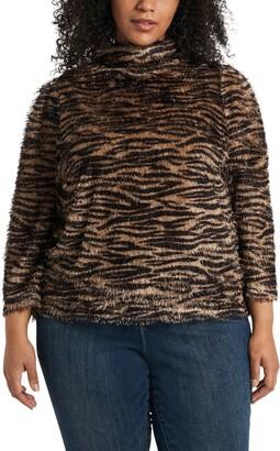 Vince Camuto Zebra Print Eyelash Knit Sweater
