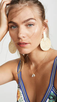 Kenneth Jay Lane Rattan Round Drop Earrings