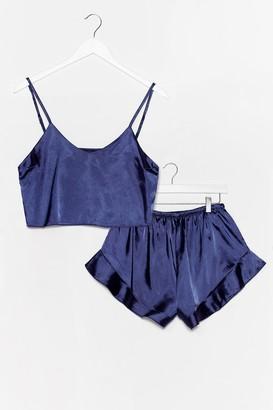 Nasty Gal Womens Sheen It Coming Satin Shorts Pajama Set - Navy