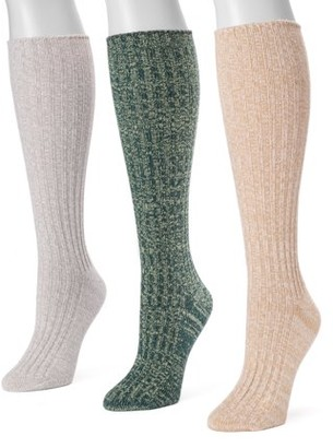 Muk Luks Women's 3 Pair Pack Fluffy Slouch Socks