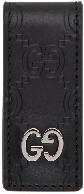 Gucci Black Leather Signature Money Clip
