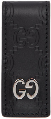 Gucci Black Leather Signature Money Clip