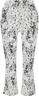 Balmain Cropped Cracked Stretch-cotton Jersey Flared Pants