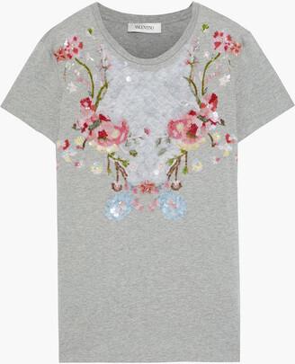 Valentino Embellished Melange Cotton-jersey T-shirt