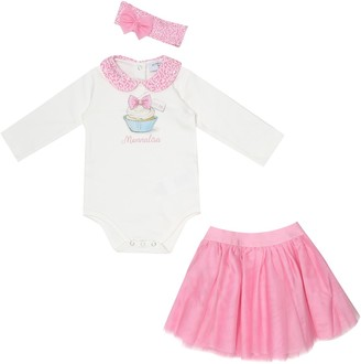 MonnaLisa Cotton onesie, skirt and headband set