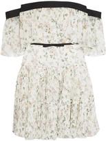 Giambattista Valli Off-the-shoulder Ruffled Floral-print Silk-chiffon Mini Dress - Ivory