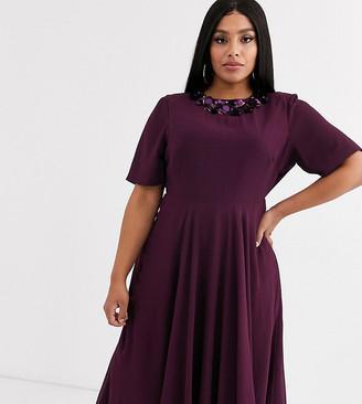 Asos DESIGN Curve crop top embellished neckline midi dress-Red