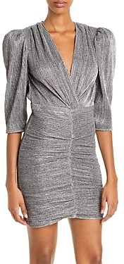 IRO Cluzco Ruched Metallic Dress