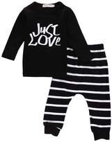 Zoe's wardrobe Little Baby Boys Long Sleeve Just Love Print Pullover And Stripe Pant 2pcs Outfits Suit (6-12M)