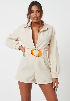 Missguided Cream Buckle Detail Paperbag Waist Playsuit