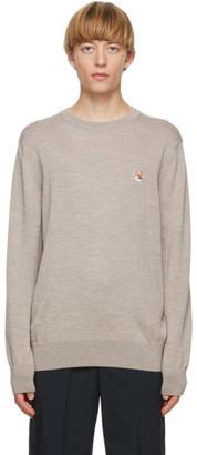 MAISON KITSUNÉ Beige Fox Head Sweater
