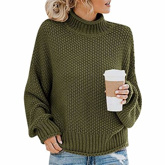 Odokei Knit Jumper Women Sweaters Women Ladies Baggy Cable Knitted Jumpers Ladys Long Sleeve Oversized Chunky Jumper Womens Turtleneck Pullover Sweater Loose Casual Cute Vintage Plus Size Army Green S