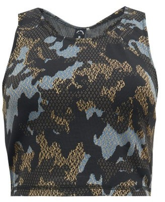 The Upside Twilight Camo-jacquard Cropped Training Tank Top - Womens - Camouflage