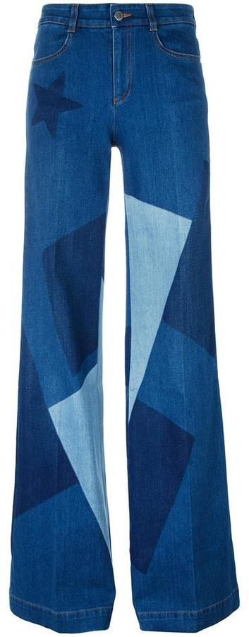Stella McCartney wide leg patchwork jeans
