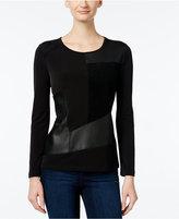 Calvin Klein Faux-Leather Mixed-Media Top