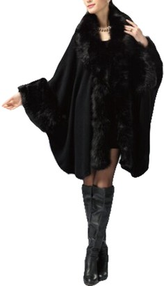 PLAER Women's Faux Fox Fur Trim Cape Wool Blend Cloak Winter Warm Coat Plus Size (Black)