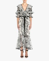 Marchesa Embroidered Silk Ruffle-Sleeve Gown