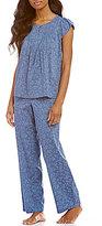Cabernet Floral Flutter-Sleeve Pajamas