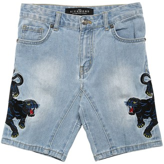 John Richmond Cotton Denim Shorts W/ Patches