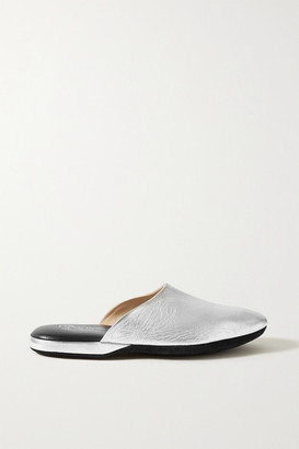 Charvet Metallic Textured-leather Slippers - Silver