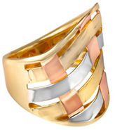 Fine Jewellery 14K Yellow Gold Tri-Tone Woven Swirl Ring