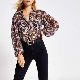 River Island Womens Black floral long sleeve sheer shirt