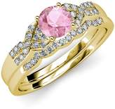 TriJewels Pink Tourmaline and Diamond Engagement Ring & Wedding Band Set 1.35 ct tw in 14K Yellow Gold.size 5.5