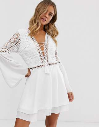 Parisian lace up tunic dress with crochet top and bell sleeves-White