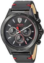 Ferrari Men's 'Pilota' Quartz Stainless Steel and Leather Casual Watch, Color:Black (Model: 830434)