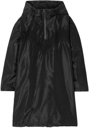Maison Margiela Lace-trimmed Silk Hooded Mini Dress