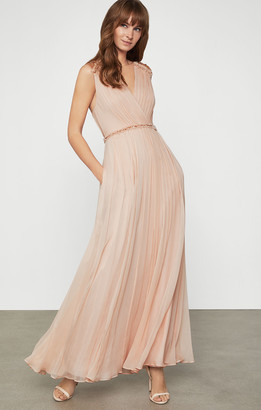 BCBGMAXAZRIA Embroidered Silk Gown with Swarovski Crystals