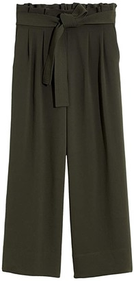 Madewell Tie-Waist Huston Pull-On Crop Pants (Dark Forest) Women's Casual Pants