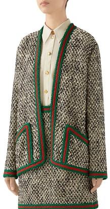Gucci Tweed Braid-Trim Cardigan Jacket