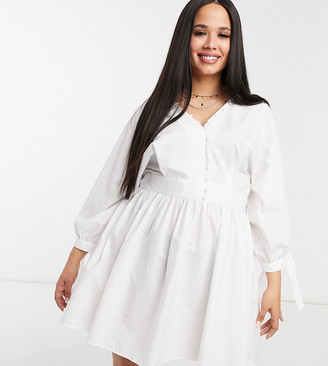 ASOS DESIGN Curve cotton poplin button neck mini smock dress with tie sleeves in white