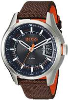 HUGO BOSS BOSS Orange Men's 'HONG KONG SPORT' Quartz Stainless Steel and Nylon Casual Watch, Color:Brown (Model: 1550002)