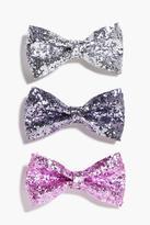 Boohoo Mae Sequin Bow Hair Clip 3 Pack