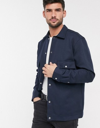 Selected twill smart shirt jacket in navy