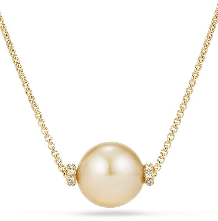 David Yurman Solari Single Station Necklace in 18K Gold with Diamonds and South Sea Yellow Cultured Pearl