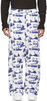 Name White and Blue Space Pyjama Trousers