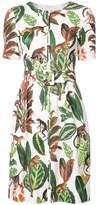 Oscar de la Renta jungle print short sleeve shift dress