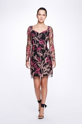 Marchesa Notte Long Sleeve V-Neck Multicolor Corded Embroidery Tulle Cocktail Dress