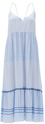 Heidi Klein Tile-print Twisted-back Poplin Midi Dress - Blue Print