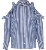 River Island Girls Blue stripe frill cold shoulder shirt